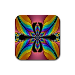 Fractal Butterfly Rubber Square Coaster (4 Pack)