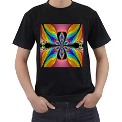 Fractal Butterfly Men s T-Shirt (Black) (Two Sided)