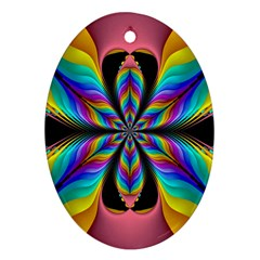 Fractal Butterfly Oval Ornament (Two Sides)