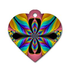 Fractal Butterfly Dog Tag Heart (One Side)