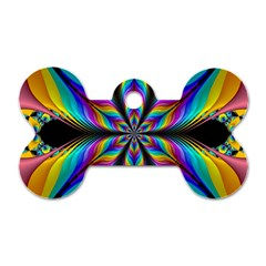 Fractal Butterfly Dog Tag Bone (Two Sides)