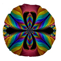Fractal Butterfly Large 18  Premium Round Cushions