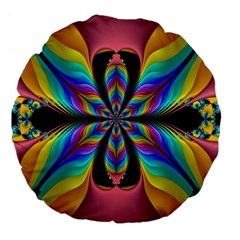 Fractal Butterfly Large 18  Premium Flano Round Cushions