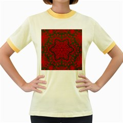 Christmas Kaleidoscope Women s Fitted Ringer T-Shirts