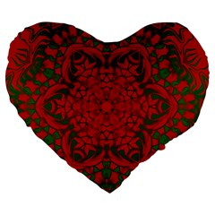 Christmas Kaleidoscope Large 19  Premium Heart Shape Cushions