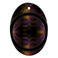Wallpaper With Fractal Black Ring Ornament (Oval)