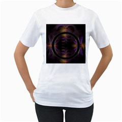 Wallpaper With Fractal Black Ring Women s T Shirt (white) (two Sided)
