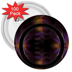 Wallpaper With Fractal Black Ring 3  Buttons (100 pack)