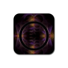 Wallpaper With Fractal Black Ring Rubber Square Coaster (4 pack)