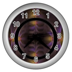 Wallpaper With Fractal Black Ring Wall Clocks (silver)