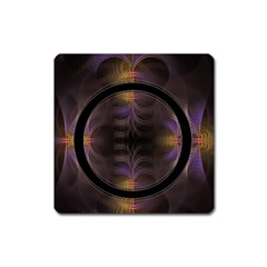 Wallpaper With Fractal Black Ring Square Magnet