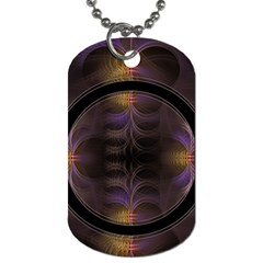 Wallpaper With Fractal Black Ring Dog Tag (two Sides)