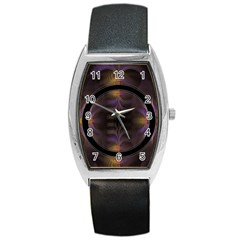 Wallpaper With Fractal Black Ring Barrel Style Metal Watch