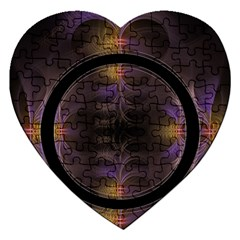 Wallpaper With Fractal Black Ring Jigsaw Puzzle (Heart)
