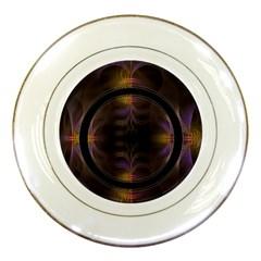 Wallpaper With Fractal Black Ring Porcelain Plates