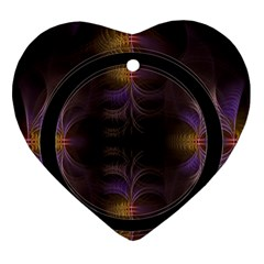 Wallpaper With Fractal Black Ring Heart Ornament (Two Sides)