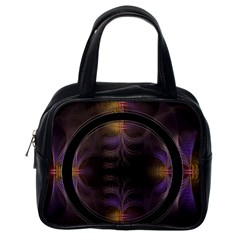 Wallpaper With Fractal Black Ring Classic Handbags (One Side)