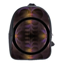 Wallpaper With Fractal Black Ring School Bags(Large)