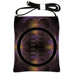 Wallpaper With Fractal Black Ring Shoulder Sling Bags