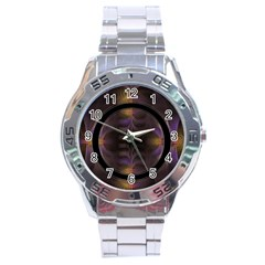 Wallpaper With Fractal Black Ring Stainless Steel Analogue Watch