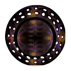 Wallpaper With Fractal Black Ring Round Filigree Ornament (Two Sides)