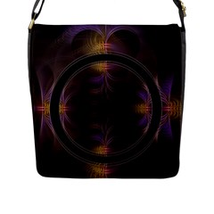 Wallpaper With Fractal Black Ring Flap Messenger Bag (l)