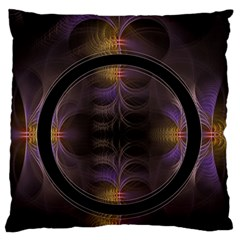 Wallpaper With Fractal Black Ring Large Flano Cushion Case (Two Sides)