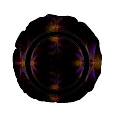 Wallpaper With Fractal Black Ring Standard 15  Premium Flano Round Cushions