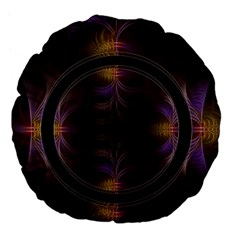 Wallpaper With Fractal Black Ring Large 18  Premium Flano Round Cushions