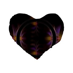 Wallpaper With Fractal Black Ring Standard 16  Premium Flano Heart Shape Cushions