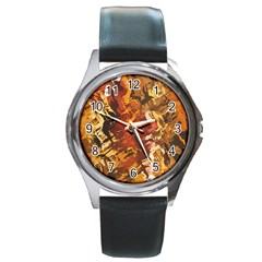 Abstraction Abstract Pattern Round Metal Watch