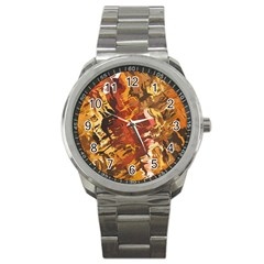 Abstraction Abstract Pattern Sport Metal Watch