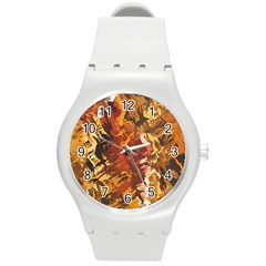 Abstraction Abstract Pattern Round Plastic Sport Watch (m)