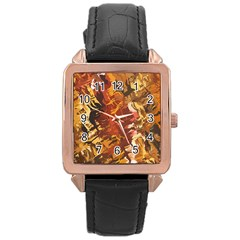 Abstraction Abstract Pattern Rose Gold Leather Watch