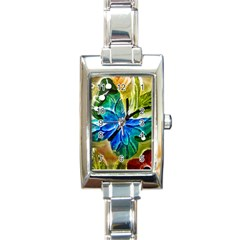 Blue Spotted Butterfly Art In Glass With White Spots Rectangle Italian Charm Watch