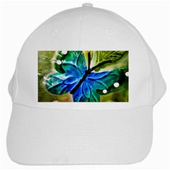 Blue Spotted Butterfly Art In Glass With White Spots White Cap