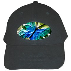 Blue Spotted Butterfly Art In Glass With White Spots Black Cap