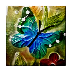 Blue Spotted Butterfly Art In Glass With White Spots Tile Coasters