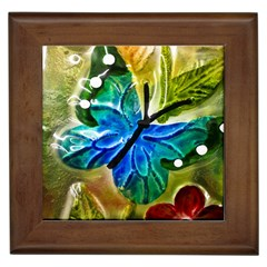 Blue Spotted Butterfly Art In Glass With White Spots Framed Tiles
