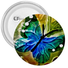 Blue Spotted Butterfly Art In Glass With White Spots 3  Buttons