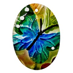 Blue Spotted Butterfly Art In Glass With White Spots Ornament (oval)