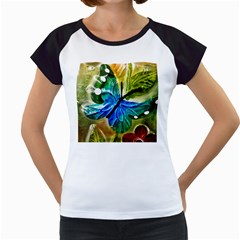 Blue Spotted Butterfly Art In Glass With White Spots Women s Cap Sleeve T