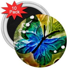 Blue Spotted Butterfly Art In Glass With White Spots 3  Magnets (10 pack)