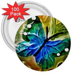 Blue Spotted Butterfly Art In Glass With White Spots 3  Buttons (100 pack)