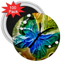 Blue Spotted Butterfly Art In Glass With White Spots 3  Magnets (100 pack)