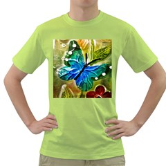 Blue Spotted Butterfly Art In Glass With White Spots Green T-Shirt