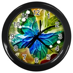 Blue Spotted Butterfly Art In Glass With White Spots Wall Clocks (Black)