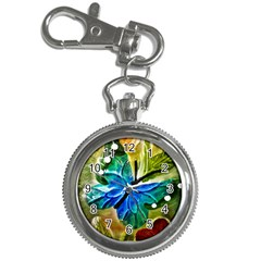 Blue Spotted Butterfly Art In Glass With White Spots Key Chain Watches