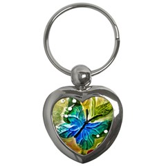 Blue Spotted Butterfly Art In Glass With White Spots Key Chains (heart)