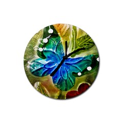 Blue Spotted Butterfly Art In Glass With White Spots Rubber Round Coaster (4 Pack)